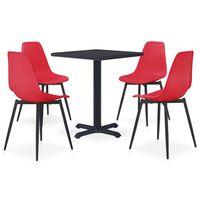 vidaXL 5 Piece Outdoor Dining Set Metal and PP Red