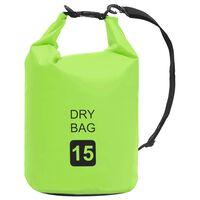 vidaXL Dry Bag Green 15 L PVC