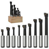 vidaXL Boring Cutters 9 pcs 12 mm with Wood Base