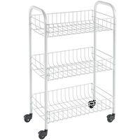 Metaltex Kitchen Trolley with 3 Baskets Siena White