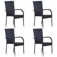 vidaXL Stackable Outdoor Chairs 4 pcs Poly Rattan Black
