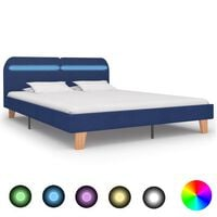 vidaXL Bed Frame with LED Blue Fabric 180x200 cm 6FT Super King