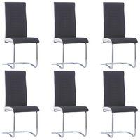 vidaXL Cantilever Dining Chairs 6 pcs Black Fabric