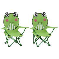vidaXL Kids' Garden Chairs 2 pcs Green Fabric