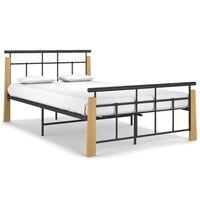 vidaXL Bed Frame Metal and Solid Oak Wood 120x200 cm