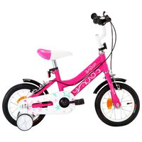 vidaXL Kids Bike 12 inch Black and Pink