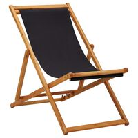 vidaXL Folding Beach Chair Eucalyptus Wood and Fabric Black