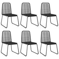 vidaXL Outdoor Chairs 6 pcs Poly Rattan Black