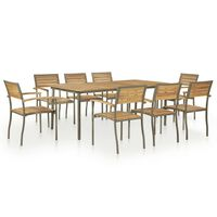 vidaXL 9 Piece Outdoor Dining Set Solid Acacia Wood and Steel