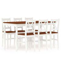 vidaXL 7 Piece Dining Set Pinewood White and Brown