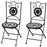 vidaXL Folding Bistro Chairs 2 pcs Ceramic Black and White