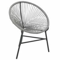 vidaXL Garden Moon Chair Poly Rattan Grey