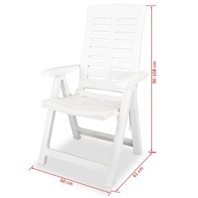 vidaXL Reclining Garden Chairs 6 pcs Plastic White