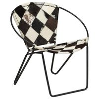 vidaXL Chair Diamond Black Real Leather