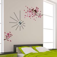 Silver Dot Clock with Pink Monkey Tree