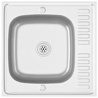vidaXL Kitchen Sink with Drainer Set Silver 600x600x155 mm Stainless Steel