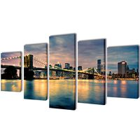 Canvas Wall Print Set Brooklyn Bridge River View 100 x 50 cm