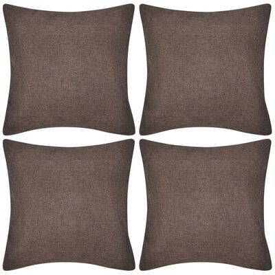 4 Brown Cushion Covers Linen-look 50 x 50 cm