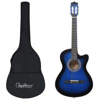 vidaXL 12 Piece Western Acoustic Guitar Set with 6 Strings Blue 38
