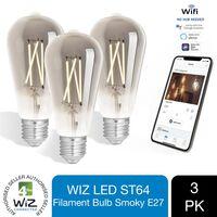 Wiz Led St64 Smart Filament Bulb Smoky E27 Tuneable White&dimmable 3pk