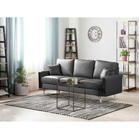 3 Seater Faux Leather Sofa Grey Gavle