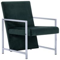 vidaXL Armchair with Chrome Feet Dark Green Velvet