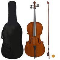 vidaXL Cello Full Set with Bag and Natural Hair Bow Dark Wood 4/4