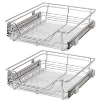 vidaXL Pull-Out Wire Baskets 2 pcs Silver 500 mm