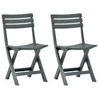 vidaXL Folding Garden Chair 2 pcs Plastic Green