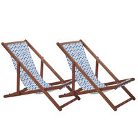 Set Of 2 Wooden Reclining Deck Chairs Dark White And Blue Anzio