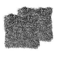 Set Of 2 Shaggy Cushions 45 X 45 Cm Black And White Cide