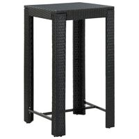 vidaXL Garden Bar Table Black 60.5x60.5x110.5 cm Poly Rattan