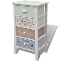 vidaXL French Storage Cabinet 4 Drawers Wood