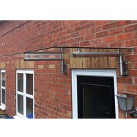 MonsterShop Glass Canopy & 4 Stainless Steel Brackets 120 x 80cm