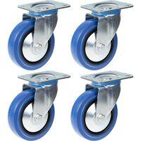 "125mm 5"" castor blue rubber swivel strong 800kg capacity, set of 4"
