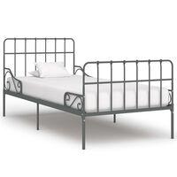 vidaXL Bed Frame with Slatted Base Grey Metal 100x200 cm