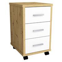 FMD Mobile Drawer Cabinet Artisan Oak Brilliant White