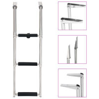 vidaXL Folding Boarding Ladder 3-step Stainless Steel