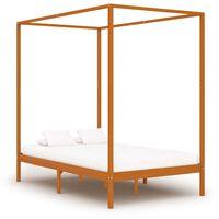 vidaXL Canopy Bed Frame Honey Brown Solid Pine Wood 140x200 cm