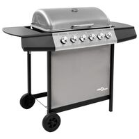 vidaXL Gas BBQ Grill with 6 Burners Black and Silver (FR/BE/IT/UK/NL only)