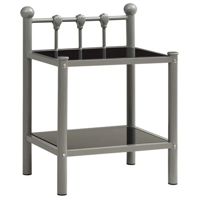 vidaXL Bedside Cabinets 2 pcs Grey and Black Metal and Glass