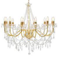 vidaXL Chandelier with Beads Golden 12 x E14 Bulbs