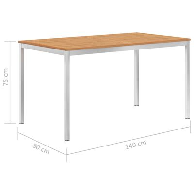 vidaXL Garden Dining Table 140x80x75 cm Solid Teak Wood and Stainless Steel
