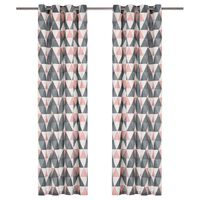 vidaXL Curtains with Metal Rings 2 pcs Cotton 140x245 cm Grey and Pink