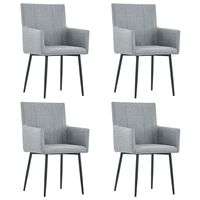 vidaXL Dining Chairs with Armrests 4 pcs Light Grey Fabric
