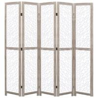 vidaXL 5-Panel Room Divider White 175x165 cm Solid Wood