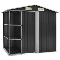 vidaXL Garden Shed with Rack Anthracite 205x130x183 cm Iron