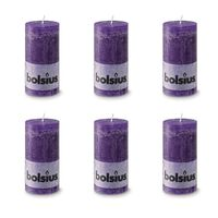 Bolsius Rustic Pillar Candle 130 x 68 mm Purple 6 pcs