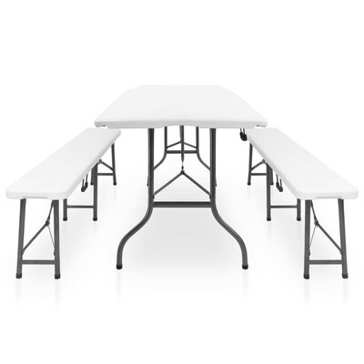 vidaXL Folding Garden Table with 2 Benches 180 cm Steel and HDPE White