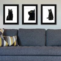 Walplus Framed Art Black Cats Wall Hanging, Home Decoration